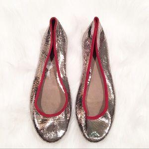 Joie Kass silver crackle ballet flats size 7.5